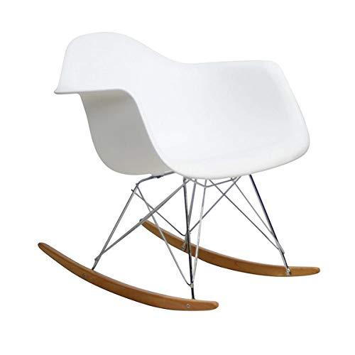 Zolta Schaukelstuhl Wohnzimmer Skandinavisch - Retro Stuhl mit Metall Bein - Skandinavisches Design Stühle - Wohnzimmerstuhl Modern - Vintage Sessel - Schalenstuhl - Weiß