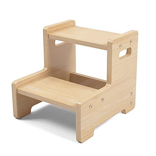Amkoskr Zweistufiger Tritthocker aus Holz für Kleinkinder, Stufen-Kinderhocker mit Griffen für das Toiletten-Töpfchentraining, Badezimmer, Küche, Schlafzimmer, Spielzeugzimmer und Wohnzimmer
