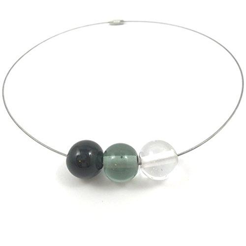 Halsreif mit Glas-Perlen aus Murano-Glas in Grau-Tönen   Unikat personalisiert handgemacht  Personalisiertes Geschenk für sie zu Valentinstag Jahrestag Hochzeit Geburtstag Weihnachten Muttertag