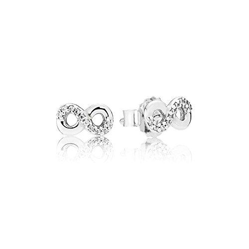 Pandora Damen Funkelnde Unendlichkeit Ohrstecker Sterling Silber Cubic Zirkonia 290695CZ