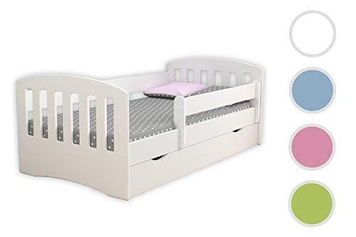 Bjird Kinderbett Jugendbett 80x160 80x180 Weiß mit Rausfallschutz Matratze Schublade und Lattenrost Kinderbetten für Mädchen und Junge - Classic I 180 cm