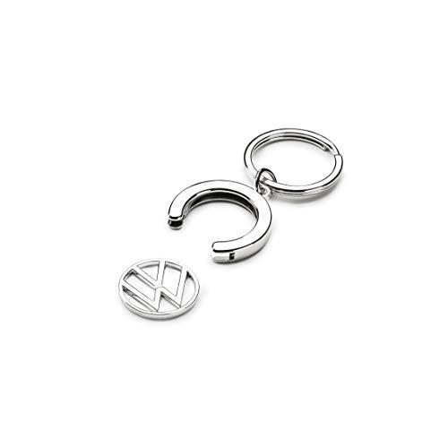 Volkswagen 000087010BT Schlüsselanhänger Pfandchip Einkaufswagenchip Keyring Anhänger, mit neuem VW Logo, Silber,
