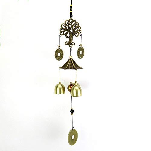 Amacoam Chinesisch Metall Windspiel,Chinesische Stil Metall Glocken Feng Shui Glocke Geldbaum Feng Shui Anhänger