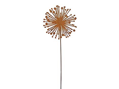 Gartenstecker Allium Blume Rost Gartendeko für Außen Dekoration Edelrost Rostoptik Metall Rostige Beetstecker (65 cm)