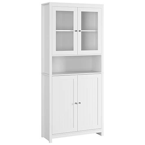 190 cm Bücherschrank mit 4 Türen Hochschrank Vitrinenschrank Kommde Sideboard Highboard für Wohnzimmer Esszimmer Büro Küche weiß