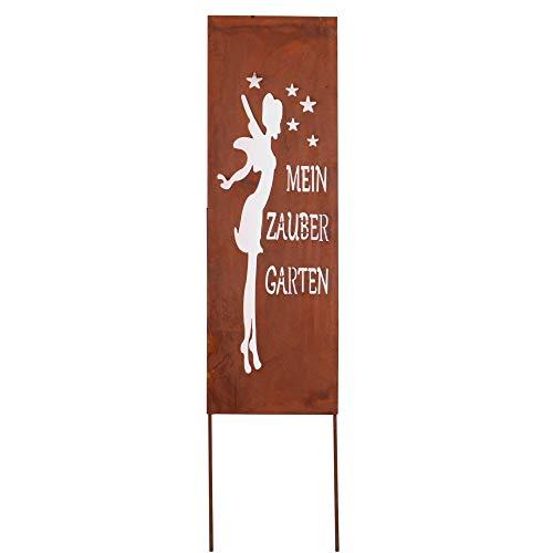 RM Design Gartendeko Gartenstecker aus Edelrost Metall Garten Schild Zaubergarten 90x30 cm