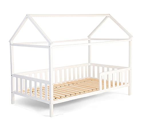 Alcube Hausbett 160x80 cm - 3 bis 9 Jahren - vielseitiges Holz Kinderbett für Jungen & Mädchen - Massivholz Kinder Bett mit Rausfallschutz und Lattenrost 80x160 cm - Weiß
