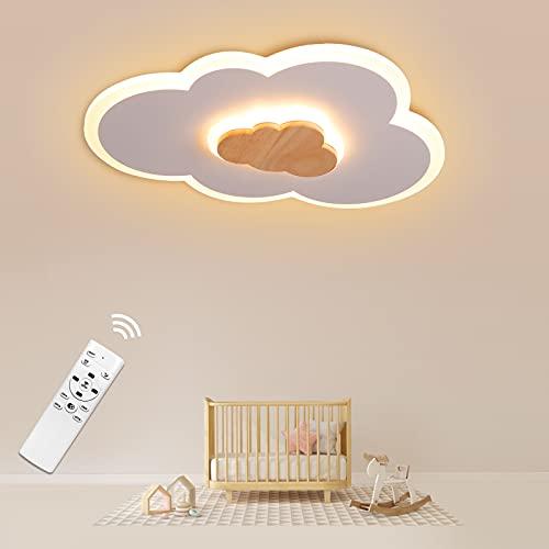 LED Deckenleuchte, Wolken Deckenlampe Holz dimmbar 3000K-6000K, 400mm 20W Wolkenlampe, Modern LED Deckenleuchten für Kinderzimmer Babyzimmer Schlafzimmer Wohnzimmer