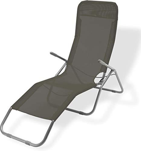 AP Auple Liegestuhl Campingstuhl mit Liegefunktion Sonnenliege mit Kopfpolster Strandliege klappbar für Camping Freizeit Garten Strand Navy Tragfähigkeit bis 205kgDunkelgrün