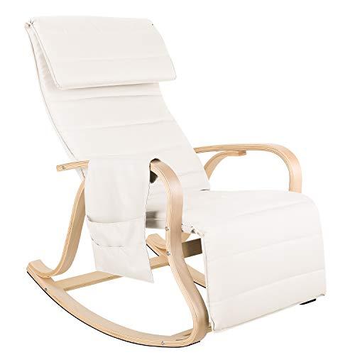 Homfa Schaukelstuhl Relaxstuhl mit 5-Fach verstellbareres Fußstütze Belastbarkeit 150 KG Sessel Beige für Wohnzimmer Birkenholz 65x86x100cm