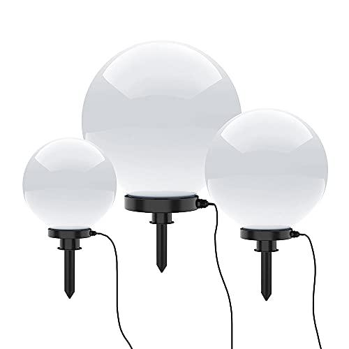Kugelleuchte aussen, Gartenlampe weiß | Außenleuchte spritzwassergeschützt | Gartenleuchte, E27 Fassung | Kugellampe mit Erdspieß & 5 Meter Kabelleitung (weiss, 30, 40, 50cm Set)