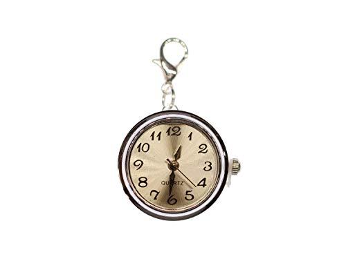 Miniblings Uhr Funktioniert Snap Button Charm WEISS- Handmade Modeschmuck I Druckknopf Uhrzeit Armbanduhr I Kettenanhänger versilbert - Bettelanhänger Bettelarmband - Anhänger für Armband