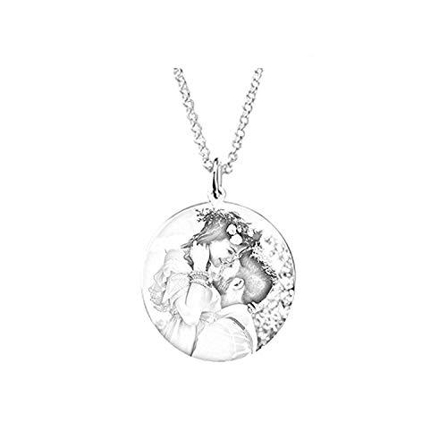Loveu Jewelry Kette Damen Herren Halskette mit Fotogravur und Textgravur 925 Sterling Silber,personalisierte Foto Anhänger Muttertagsgeschenk Black&White