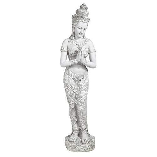Design Toscano Thai Teppanom Wunderschönes Wesen Asiatische Gartenstatue, Polyresin, antikes steingrau, 89 cm
