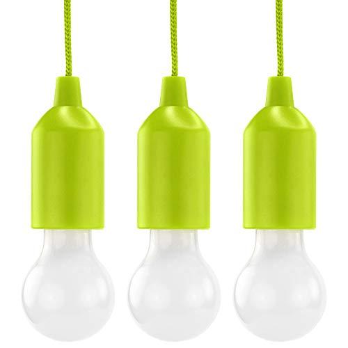 HyCell Pull Light 3er Set mit Zugschalter inkl. AAA Batterien - tragbare LED Lampe warmweiß - Mobile Leuchte ideal für Garten Schuppen Zelt Camping Dachboden Kleiderschrank oder Party Dekoration