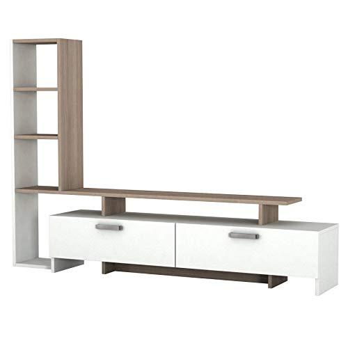 Alphamoebel 1919 Simal TV Board Lowboard Fernsehtisch Sideboard Fernseh Schrank Tisch für Wohnzimmer, Holz, Weiß Cordoba, mit Türen, großes Regalelement, viel Stauraum, 168,2 x 22 x 120cm