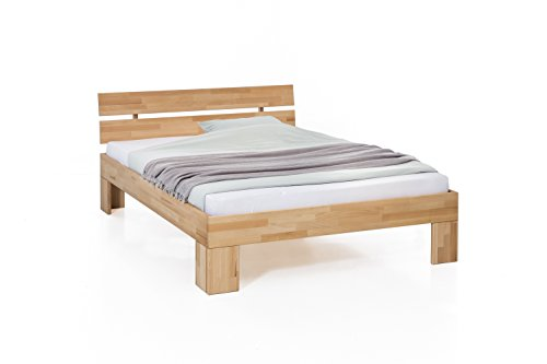 Unbekannt Massivholz-Bett Nano 140 x 200 cm aus Kernbuche, Doppelbett, als Ehebett verwendbar, inkl. Rückenlehne, 1 Bett á 140 x 200 cm