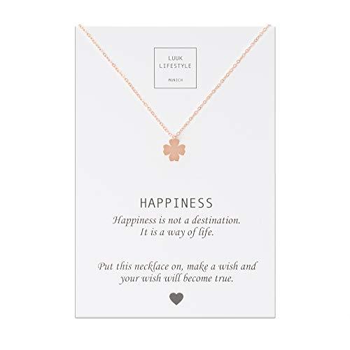 LUUK LIFESTYLE Edelstahl Halskette mit Kleeblatt Anhänger und Happiness Spruchkarte, Glücksbringer, Damen Schmuck, Rosa