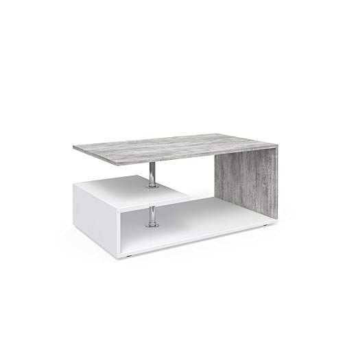 Vicco Coffee Table Guillermo Living Room Table White Concrete 91x52 Couch Table Side Table