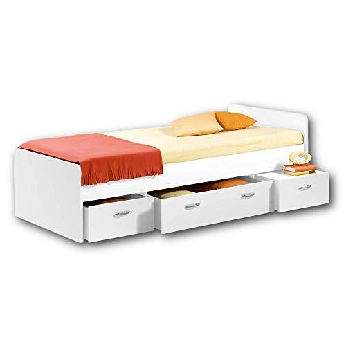 BORO Modernes Einzelbett mit 3x Schubkästen 90 x 200 cm - Praktisches Jugendzimmer Kojenbett in Weiß - 95 x 66 x 204 cm (B/H/T)