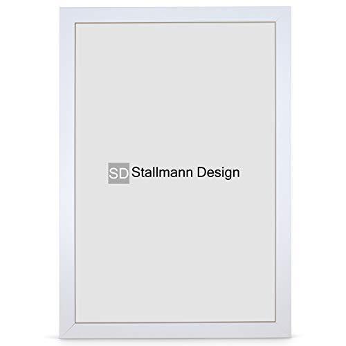 Stallmann Design Bilderrahmen New Modern 70x100 cm weiß Rahmen Fuer Dina 4 und 60 andere Formate Fotorahmen Wechselrahmen aus Holz MDF mehrere Farben wählbar Frame für Foto oder Bilder
