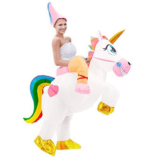 Tacobear Aufblasbare Einhorn Kostüm für Erwachsene Karneval Halloween Kostüm Trag Mich Kostüm Aufblasbare Reiter Kostüm für Damen Herren mit Hut