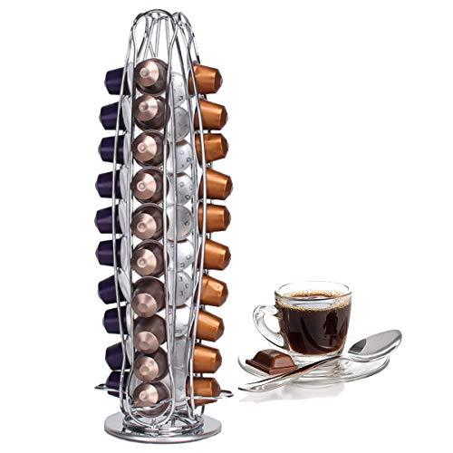 ICEWHWWL Kapselhalter, Kaffeepadständer Rotierend Platz Sparende Lösung für Nespresso 40 Stück, Kapseln Drehbar Kaffee Kapselständer Solide Silber Chrom Haltbar (Rostfreier Stahl)