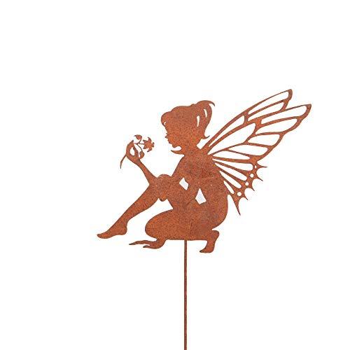 RM Design Zink Elfe sitzend klein, Gartendeko Rostoptik, Gartenstecker aus Edelrost, Rost Deko für Garten, Terrasse Balkon Blumentopf