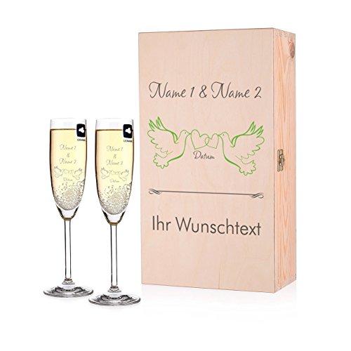 Leonardo Premium Geschenkbox mit 2 Sektgläser zur Hochzeit mit Gratis Gravur und bedruckter Privatglas Holzbox - schönes Hochzeits-Geschenkset