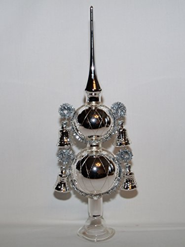 Jingle Bells Lauscha Christbaumspitze Silber 4 Glocken 30cm hoch Lauschaer Handarbeit