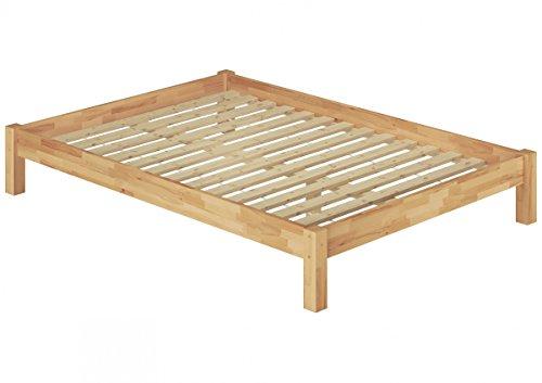 Erst-Holz Französisches Bett 140x200 Doppelbett Futonbett Massivholzbett Buche Natur Rollrost 60.84-14