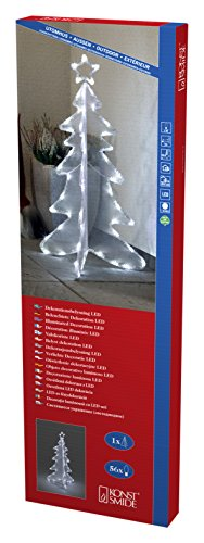 Konstsmide 3921-203 LED Dekoration '3D Acryltannenbaum ' / für Außen (IP44) /  24V Außentrafo / 56 kalt weiße Dioden / schwarzes Kabel