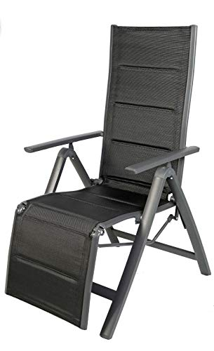 FineHome Luxus Gartenstuhl - Relaxsessel - zusammenklappbar - gepolstert - Aluminium -6-Fach verstellbar