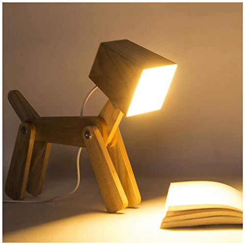 HROOME Modern Design Holz Schreibtischlampe Led Touch Dimmbar Verstellbar Tiere Hund Lampe Dimmer Tischlampe Beleuchtung für Kinder Jungen Wohnzimmer Schlafzimmer Nachttischlampe 12V