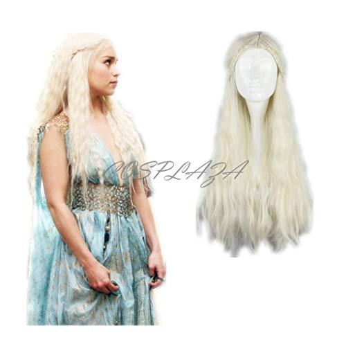 COSPLAZA Perücke Cosplay Wig Game of Thrones Daenerys Targaryen Barbarian geflochten Lang wellig gewellt Haar