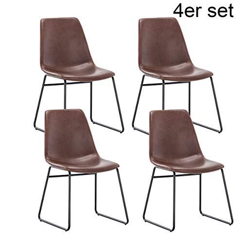 Simhoo Esstisch Stuhl Retro-Essstuhl mit Braun PU-Ledersitzfläche und Schwarzem Metallfuß stühle Küchenstühle Esszimmerstühle für das Esszimmer Wohnzimmer Schlafzimmer Küche, 4er-Set…