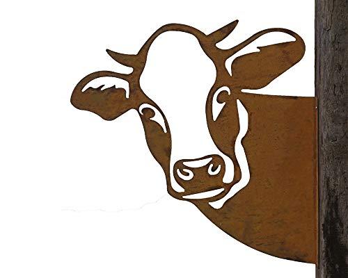 Baumstecker Metall Rost rostige Gartendeko Edelrost Kuh Kuhkopf Wanddekoration 44x44x44cm zum anschrauben
