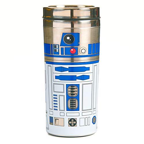 Ob zu einem weit entfernten Galaxie im Stern, oder nur auf dem Hüpfen für den Morgen pendeln, Home Comforts ist immer wichtig, also nehmen Sie Ihr Lieblingsgetränk. Die Edelstahl R2-D2 Reisetasse ist die perfekte Sache für Reisen und Wege, und ist doppelwandig für extra-Isolierung.