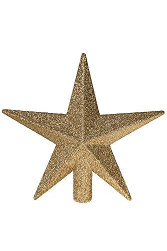 Clever Creations - Weihnachtsbaumspitze - glitzernder Stern - Festliche Weihnachtsdeko - bruchsicherer Kunststoff - für Weihnachtsbäume jeder Größe - Goldfarben - 20,3 cm