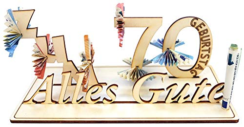 Geldgeschenk, 70. Geburtstag, Holzzahl, Glückwunsch, Alles Gute zum Geburtstag