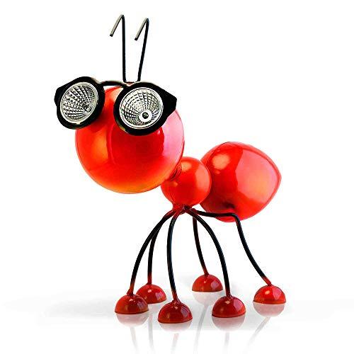 Smarty Gadgets Gartendeko Rote Ameise mit Solar LED Leuchten, Garten Geschenk, Tier Gartenfigur für draußen Hof und Balkon Dekoration, 28x25x14 cm