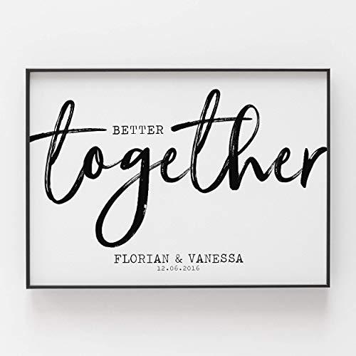 Geschenk zum Jahrestag für ihn sie Hochzeitstag Kunstdruck personalisiert better together Hochzeitsgeschenk Brautpaar Freundin Freund ungerahmt