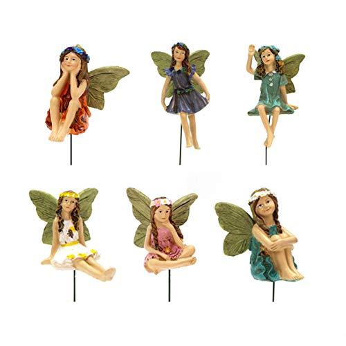 10 Stück Miniatur Feen Figuren Zubehör für Outdoor-Deko Mini Feen -Fairy Figuren Verschiedene Miniatur Blumen Garten Blumentopf Puppenhaus Dekoration