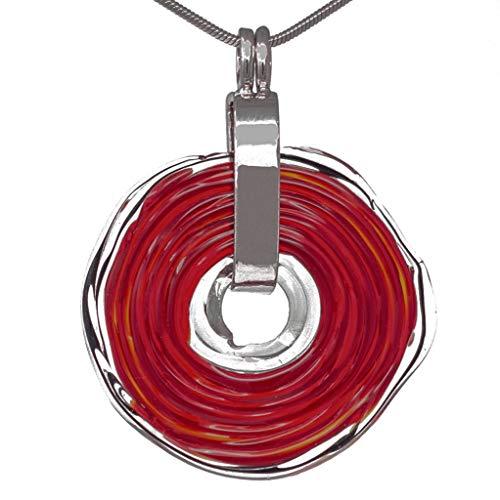 Kette in Rot mit Anhänger aus Murano-Glas | Glas-Wechsel-Schmuck | Unikat handmade | Personalisiertes Geschenk für sie zu Valentinstag Jahrestag Hochzeit Geburtstag Weihnachten Mama Dame