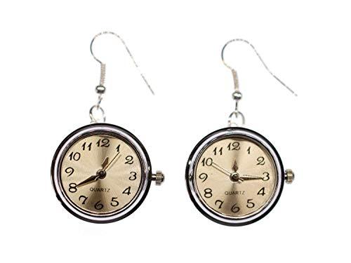 Miniblings Uhr Funktioniert Ohrringe Snap Button Uhrzeit Armbanduhr - Handmade Modeschmuck I Ohrhänger Ohrschmuck versilbert