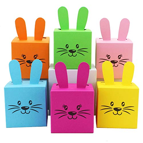 Papierdrachen 12 Geschenkboxen im Osterhasen-Design - Kisten mit Ohren, Pompom und Gesicht - 7cm x 7cm - bunt gemischt - Osternest für Kinder