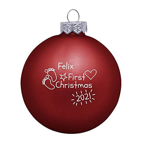 Deitert Weihnachtskugel mit Wunschtext Gravur, Ø 8cm, Personalisierte Christbaumkugel aus Glas (matt), Individueller Weihnachtsbaumschmuck Namen oder Spruch, Baby's First Christmas, Rot