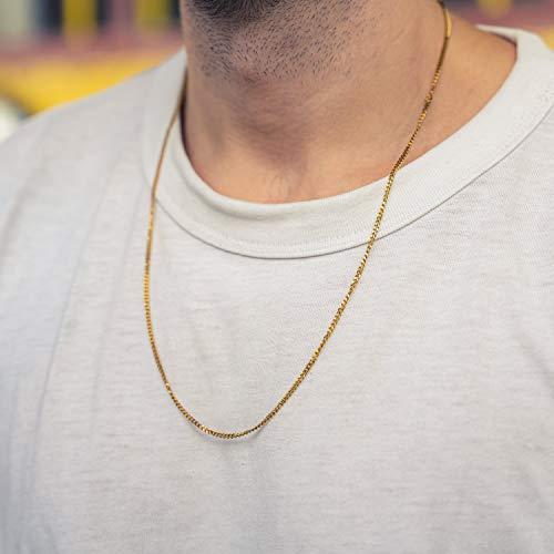 Made by Nami Halskette Gold aus Edel-Stahl - 60-cm Glieder-Halskette - Feine Silber-Kette Glieder-Kette - Handmade Herren-Kette - Panzer-Kette - Geschenk für Ihn - Herren-Schmuck (Gold 2mm)