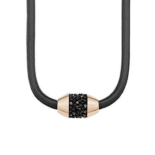 s.Oliver Damen-Kette mit Anhänger Swarovksi Elements IP Rose Halsband Edelstahl Leder Kristall braun 45 cm-2012522