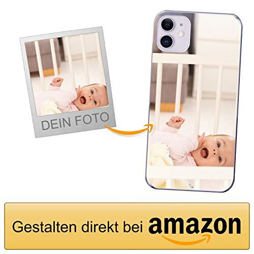 Coverpersonalizzate.it Handyhülle für Apple iPhone 11 mit Foto-, Bildern- oder Text selbst gestalten- Die Handyhülle ist aus weichem transparentem TPU-Silikon-Gel Material
